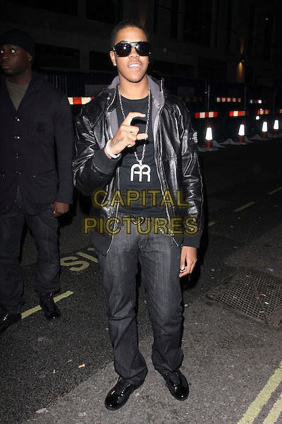 CHIPMUNK (Jamal Noel Fyffe).At Mahiki Club, London, England..November 16th, 2009.full length black leather jacket jeans denim sunglasses shades hand .CAP/AH.©Adam Houghton/Capital Pictures.