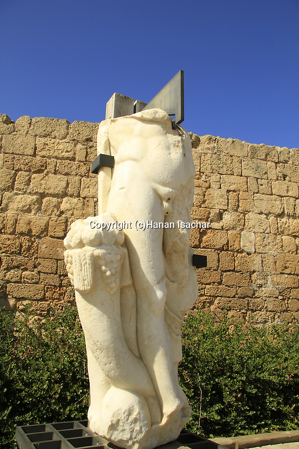 Roman statue in Caesarea National Park on Israel's central Mediterranean coast