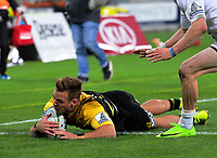 Wes Goosen scores during the Super Rugby match between the Hurricanes and Chiefs at Westpac Stadium in Wellington, New Zealand on Friday, 9 June 2017. Photo: Dave Lintott / lintottphoto.co.nz