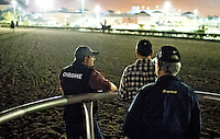 HALLANDALE BEACH, FL - JAN 27: Assistant Trainer Alan Sherman, Groom Raul Rodriguez and Trainer Art Sherman watch California Chrome's final workout for the Pegasus World Cup at Gulfstream Park Race Course on January 27, 2017 in Hallandale Beach, Florida. (Photo by Scott Serio/Eclipse Sportswire/Getty Images)