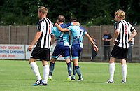 Garry Thompson of Wycombe Wanderers (left) celebrates after scoring with Luke O'Niel of Wycombe Wanderers during the Friendly match between Maidenhead United and Wycombe Wanderers at York Road, Maidenhead, England on 30 July 2016. Photo by Alan  Stanford PRiME Media Images.