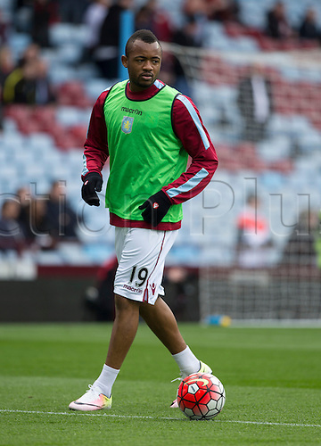 02.04.2016. Villa Park, Birmingham, England. Barclays Premier League. Aston Villa versus Chelsea.  Aston Villa striker Jordan Ayew warming up with the ball before the match.