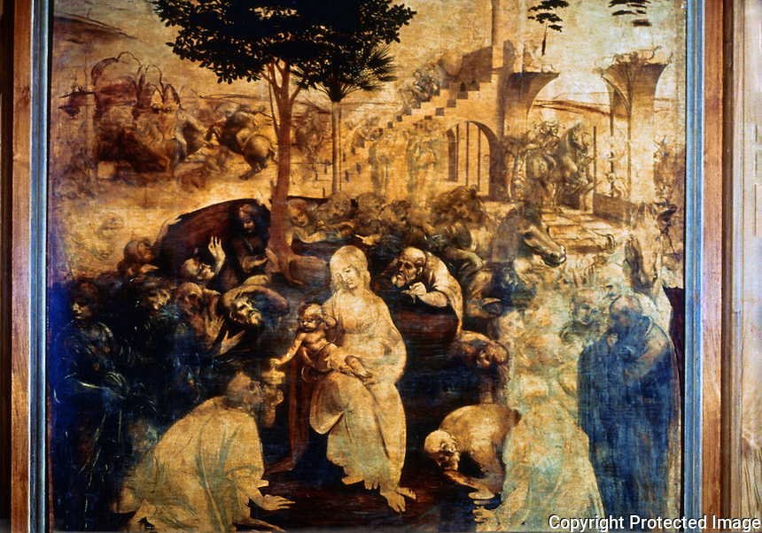 Renaissance Art:  Leonardo Da Vinci--Adoration of the Magi.  Galleria Uffizi.
