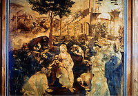 Renaissance Art:  Leonardo Da Vinci--Adoration of the Magi.  Galleria Uffizi.