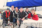 CREW: The crew from The boat Strickly Business who landed at Fenit Pier on Friday after they raced in the WAOIRA : l-r: Brendan Culloty, Kieran Kelliher, Tim Kelliher, Fergus Kelliher, Eoin McElligott and Padraig Brick........