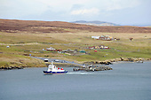 Shetland - the inter-island relief ferry Fivla turns in to Laxo Pier in the central mainland - picture by Donald MacLeod - 02.04.14 – 07702 319 738 – clanmacleod@btinternet.com – www.donald-macleod.com