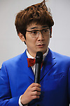 """April 17, 2018, Tokyo, Japan - Japanese comedy duo Ginshari member Kazuhiro Unagi attends the opening ceremony of the exhibition """"Detective Conan Science Investigation"""" at the National Museum of Energing Science and Innovation in Tokyo on Tuesday, April 17, 2018. The exhibition will start on April 18 through July 8.    (Photo by Yoshio Tsunoda/AFLO) LWX -ytd-"""