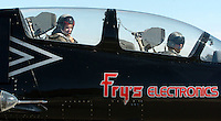 Oct 08, 2004 - Walnut Creek, CA, USA - Newspaper reporter Rowena Coetsee, left, taxis to the runway in an L-39 jet at Byron Airport in Byron, Calif., Friday Oct. 8, 2004. Pilot John Posson is at right. This jet and others from the Byron based aerobatic team will perform during the Fleet Week air show over the San Francisco Waterfront this weekend. .(Credit Image: © Alan Greth)