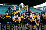 Dr Crokes captain John Payne lifts the Bishop Moynihan cup with his dad Bobby after winning the Kerry County Senior Club Football Championship Final match between Dr Crokes and Dingle at Austin Stack Park in Tralee, Kerry on Sunday.