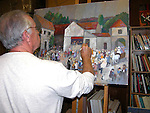 "Working on ""Wedding at the Vintner's Inn"", 30x40 Acrylic on Canvas. Details...details...."