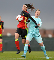 20171125 - TUBIZE , BELGIUM : Belgian Laura De Neve (left) pictured in a duel during the friendly female soccer game between the Belgian Red Flames and Russia , Saturday 25 th November 2017 at the Belgian FA Euro 2000 Center in Tubize , Belgium. PHOTO SPORTPIX.BE | DAVID CATRY