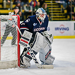 21 November 2017: University of Connecticut Huskies goaltender Adam Huska in second period action against the University of Vermont Catamounts at Gutterson Fieldhouse in Burlington, Vermont. The Huskies defeated the Catamounts 4-1 in Hockey East play. Mandatory Credit: Ed Wolfstein Photo *** RAW (NEF) Image File Available ***