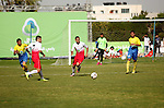 Palestinian Shabab Jabalia players and Shabab Khan Younis players compete during the final match of the Gaza Cup at Yarmuk stadium in Gaza City, on April 24, 2016. Photo by Ashraf Amra