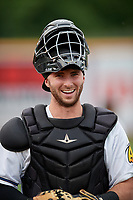 Akron RubberDucks catcher Logan Ice (9) before an Eastern League game against the Reading Fightin Phils on June 4, 2019 at Canal Park in Akron, Ohio.  Akron defeated Reading 8-5.  (Mike Janes/Four Seam Images)