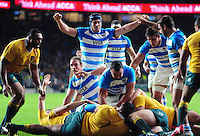Argentina players celebrate a score. The Rugby Championship match between Argentina and Australia on October 8, 2016 at Twickenham Stadium in London, England. Photo by: Patrick Khachfe / Onside Images