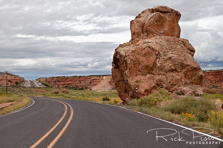 Owl Rock sits alongside Route 66 in Western New Mexico. Route 66 was decommissioned as a US Highway when the Interstate was built.