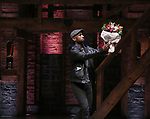 Donald Webber with flowers, a retirement gift,  Chancellor of NYC Department of Education Carmen Farina from the cast of Broadway's 'Hamilton' at The Richard Rodgers Theatre on April 25, 2018 in New York City.