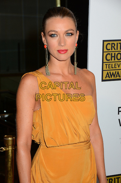 Natalie Zea.2nd Annual Critic's Choice Television Awards Presented by the Broadcast Television Journalists Association held at the Beverly Hilton, Beverly HIlls, California, USA..June 18th, 2012.half length yellow one shoulder dress pink lipstick dangling gold earrings .CAP/ADM/BT.©Birdie Thompson/AdMedia/Capital Pictures.