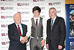 27/10/2015   With Compliments.  Attending the GAA High Performance Scholarships 2015-2016 in the Castletroy Park Hotel were Robert Frost, GAA, Munster Council Chairman who presented the Munster GAA Bursary to recipient Kevin Hehir, Inagh/Kilnamona, Clare. Also in the photograph is UL President Professor Don Barry.  Photograph: Liam Burke/Press 22