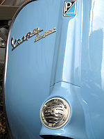 Detail of the legshield of a 1966 Vespa 125 Super.