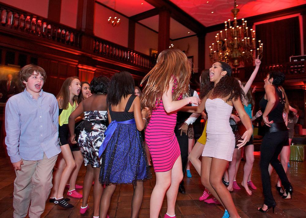 The kids having fun dancing at a Bar Mitzvah party at The Harvard Club, NYC