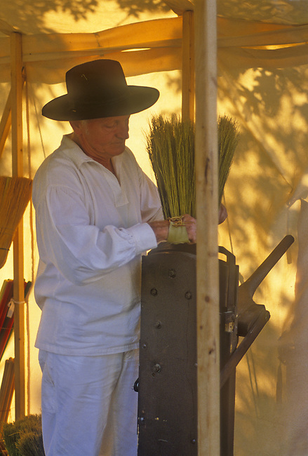 A re-enacter broom maker show his skills  at the Turn of the Century Fair at Starved Rock State Park, LaSalle County, Illinois