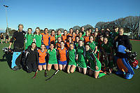The teams pose for a group photo after the National Women's Association Under-18 Hockey Tournament 3rd place playoff match between Manawatu and Tauranga at Twin Turfs in Clareville, New Zealand on Saturday, 15 July 2017. Photo: Dave Lintott / lintottphoto.co.nz