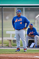 GCL Mets manager David Davalillo (4) during a game against the GCL Cardinals on August 6, 2018 at Roger Dean Chevrolet Stadium in Jupiter, Florida.  GCL Cardinals defeated GCL Mets 6-3.  (Mike Janes/Four Seam Images)