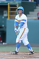 Aaron Weimer # 47 of the UCLA Bruins bats against the Stanford Cardinal at Jackie Robinson Stadium on May 2, 2014 in Los Angeles, California. UCLA defeated Stanford, 7-2. (Larry Goren/Four Seam Images)