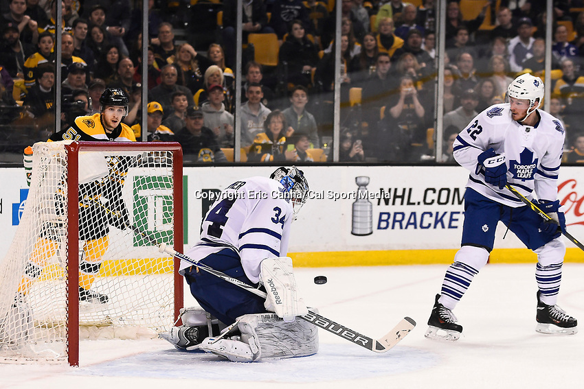 April 4, 2015 - Boston, Massachusetts, U.S. - Toronto Maple Leafs goalie James Reimer (34) makes a save during the NHL match between the Toronto Maple Leafs and the Boston Bruins held at TD Garden in Boston Massachusetts. Eric Canha/CSM