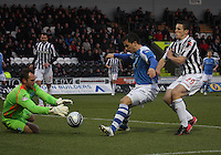 Garry Miller shields the ball back to Alan McManus under pressure from John McGinn in the St Mirren v St Johnstone Clydesdale Bank Scottish Premier League match played at St Mirren Park, Paisley on 8.12.12.