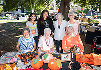 The Women's Club Boutique, with proceeds benefiting the Occidental Women's Club Endowed Scholarship, during Homecoming festivities on Saturday, Oct. 20, 2018 in the Academic Quad.<br /> Back row, from left: Martha Hidalgo '81 P'12; Carolyn Nelson, daughter of Lois Thompson '57; Lois Russo P'85 P'90, Enid Busser '58. Front row, from left: Elvira Bellizzi P'16; Clara Gresham '53; Jane Pinkerton P'85 P'88.<br /> (Photo by Marc Campos, Occidental College Photographer)