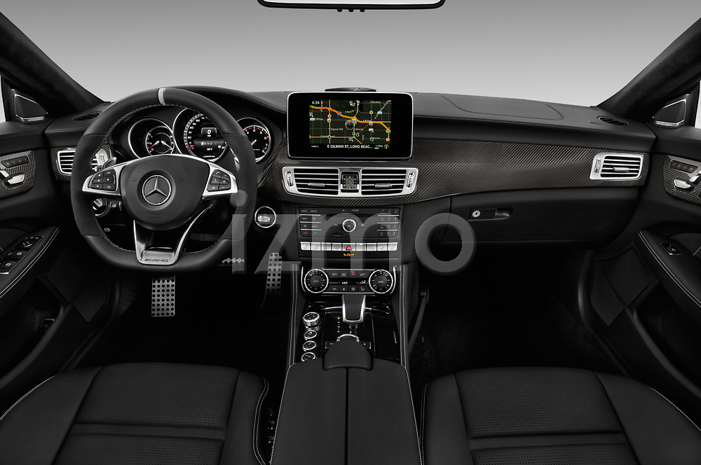 Stock photo of straight dashboard view of 2018 Mercedes Benz CLS-Class AMG-CLS63-4MATIC 4 Door Sedan Dashboard