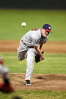 Auburn Doubledays pitcher Jake Joyce (26) delivers a pitch during a game against the Batavia Muckdogs on June 14, 2014 at Dwyer Stadium in Batavia, New York.  Batavia defeated Auburn 7-2.  (Mike Janes/Four Seam Images)