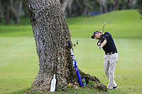 Marcel Siem (GER) plays his 2nd shot on the 9th hole during Saturday's storm delayed Round 2 of the Andalucia Valderrama Masters 2018 hosted by the Sergio Foundation, held at Real Golf de Valderrama, Sotogrande, San Roque, Spain. 20th October 2018.<br /> Picture: Eoin Clarke | Golffile<br /> <br /> <br /> All photos usage must carry mandatory copyright credit (&copy; Golffile | Eoin Clarke)