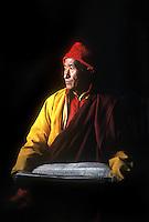Lama Tensing, a Sherpa lama at the Serlo Gompa monastery, Jumbesi, Solu, Nepal