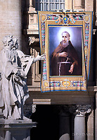 A tapestry hanged on the facade of St Peter's basilica shows a portrait of Italian Capuchin Angelo d'Acri during <br /> Pope Francis leads a mass for the canonization of 35 new saints on October 15, 2017 at St Peter's square. Pope Francis celebrates a Holy Mass today with canonizations of 35 new saints, including thirty martyrs murdered in Brazil in the 17th century by Dutch Calvinists, three Mexican teenagers who died in the 16th century, and Italian Capuchin Angelo d'Acri and the Spanish priest Faustino of the Incarnation.