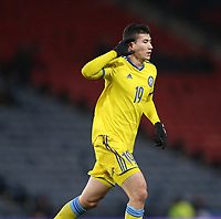 19th November 2019; Hampden Park, Glasgow, Scotland; European Championships 2020 Qualifier, Scotland versus Kazakhstan; Baktiyor Zainutdinov of Kazakhstan celebrates after he opens the scoring making it 1-0 to Kazakhstan in the 34th minute - Editorial Use