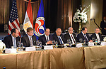 Egyptian President Abdel-Fattah el-Sisi attends dinner hosted by US Chamber of Commerce in Washington, DC, USA on April 9, 2019. . Photo by Egyptian President Office