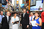 Glenn (L) borther of Kevin and Damon Jacobs and Kayla (R), As The World Turns' Colleen Zenk is ordained Universal Life Church minister who officiated the wedding of We Love Soaps Kevin Mulcahy Jr and Roger Newcomb on August 18, 2012 in Times Square, New York City, New York. (Photos by Sue Coflin/Max Photos)