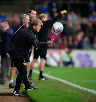 Scunthorpe United manager Stuart McCall throws the ball back<br /> <br /> Photographer Chris Vaughan/CameraSport<br /> <br /> The EFL Sky Bet League One - Scunthorpe United v Peterborough United - Saturday 13th October 2018 - Glanford Park - Scunthorpe<br /> <br /> World Copyright © 2018 CameraSport. All rights reserved. 43 Linden Ave. Countesthorpe. Leicester. England. LE8 5PG - Tel: +44 (0) 116 277 4147 - admin@camerasport.com - www.camerasport.com