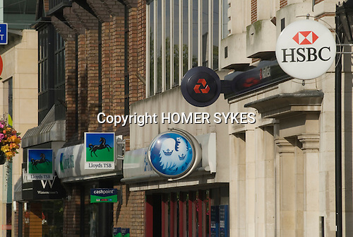 High street bank signs. Lloyds TSB, Barclays Bank, Nat West National Westminster and HSBC at Staines High Street, Staines,  Middlesex, England 2007