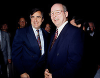 "Montreal (Qc) CANADA - File Photo - May 1996 -<br /> <br /> Lucien Bouchard,  Leader Parti Quebecois (from Jan 29, 1996 to March 2, 2001). seen in a May 1996 file photo with Michel Gauthier, who replaced Bouchard as Bloc Quebecois Leader<br /> <br /> After the Yes side lost the 1995 referendum, Parizeau resigned as Quebec premier. Bouchard resigned his seat in Parliament in 1996, and became the leader of the Parti QuÈbÈcois and premier of Quebec.<br /> <br /> On the matter of sovereignty, while in office, he stated that no new referendum would be held, at least for the time being. A main concern of the Bouchard government, considered part of the necessary conditions gagnantes (""winning conditions"" for the feasibility of a new referendum on sovereignty), was economic recovery through the achievement of ""zero deficit"". Long-term Keynesian policies resulting from the ""Quebec model"", developed by both PQ governments in the past and the previous Liberal government had left a substantial deficit in the provincial budget.<br /> <br /> Bouchard retired from politics in 2001, and was replaced as Quebec premier by Bernard Landry."
