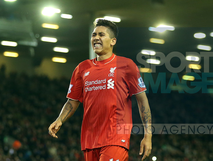 Liverpool's Roberto Firminio looks on dejected<br /> <br /> Barclays Premier League- Liverpool vs Leicester City - Anfield - England - 26th December 2015 - Picture David Klein/Sportimage
