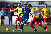 8th February 2020; Dens Park, Dundee, Scotland; Scottish Championship Football, Dundee versus Partick Thistle; Kane Hemmings of Dundee is closed down by Stuart Bannigan and Thomas O'Ware of Partick Thistle