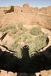 Pueblo Bonito-kiva and my shadow..Chaco Culture National Historical Park