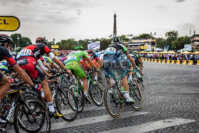 Peloton with Peter Sagan (SVK) of Cannondale), Tour de France, Stage 21: Évry > Paris Champs-Élysées, UCI WorldTour, 2.UWT, Paris Champs-Élysées, France, 27th July 2014, Photo by Pim Nijland