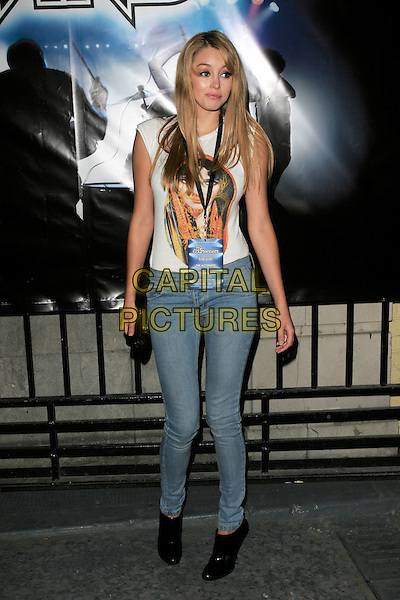 "KEELEY HAZELL.""Rock Band"" video game launch at Bloomsbury Bowling Lanes, London, England. .May 13th, 2008.full length jeans denim white sleeveless top print keely hazel black patent shoes ankle boots.CAP/AH.©Adam Houghton/Capital Pictures."