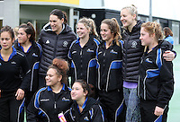 14.07.2014 Jodi Brown and Katrina Grant - The Silver Ferns visit the U17 netball on the North Shore in Auckland. Mandatory Photo Credit ©Michael Bradley.