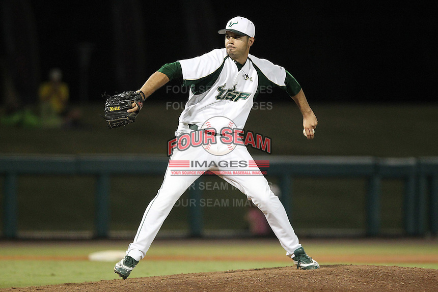 South Florida Bulls pitcher Nick Gonzalez #6 delivers a pitch during a game against the Illinois State Redbirds at the USF Baseball Complex on March 14, 2012 in Tampa, Florida.  South Florida defeated Illinois State 10-5.  (Mike Janes/Four Seam Images)